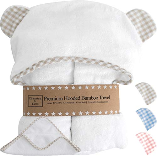 Premium Hooded Baby Towels and Washcloth Set - Organic Bamboo Baby Towel with Hood - Extra Thick & Soft - Baby Bath Towels with Hood for Boy or Girl - Beige, Blue, or Pink with White Baby Shower Gift