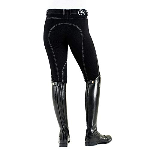 Cotton Riding Breeches - Ovation Euro Melange Knee Patch Breech 34 Black