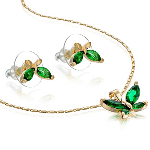 14K Gold Or Silver Rhodium Plated Butterfly Necklace & Earrings Set - Gold/Emerald, Janeo Jewellery (Halloween Costumes With Next Day Delivery)