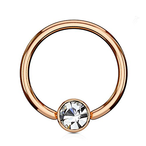 Inspiration Dezigns Rose Gold Flat Cylinder Captive Bead Ring with Clear Gem (Sold Individually) (16G, L: 5/16, Ball: 3mm) - 16g Captive Ring