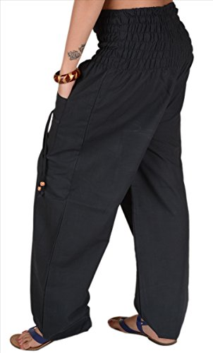 SNS Pure algodón harén pantalones Yoga de la India pijama con bolsillos negro