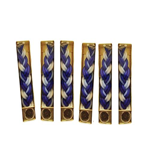 6 Havdalah Sets of Braided Blue and White Candles with a Small Container of Besomim Shalhevet