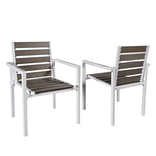 Babylon Indoor/Outdoor Stackable Patio Garden Chair, All Weather AntiRust Plastic Wood Bistro Armchair, Study Dining Chair for Restaurant, Wedding,Party, Set of 2, Grey Taupe (Chairs Patio Wood Stackable)