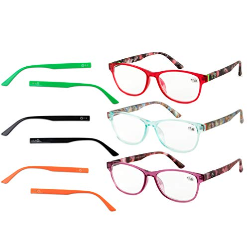 Multi Color Frames Reading Glasses - Reading Glasses Women, 3 Pack Fashion Readers with Multi Color Interchangeable Temples +350 Prescription Strength