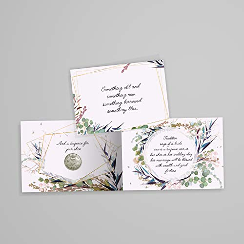 Authentic Sixpence Coin With Card & Envelope For the Bride - Something Old, Something New, Something Borrowed, Something Blue, and a Sixpence for her shoe
