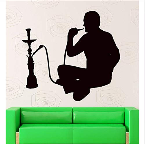 (LSFHB Wall Stickers Hookah Smoking Arabic Cafe Decor Shisha Vinyl Decal Wall Window Decals Lounge Sticker Home Decoration)