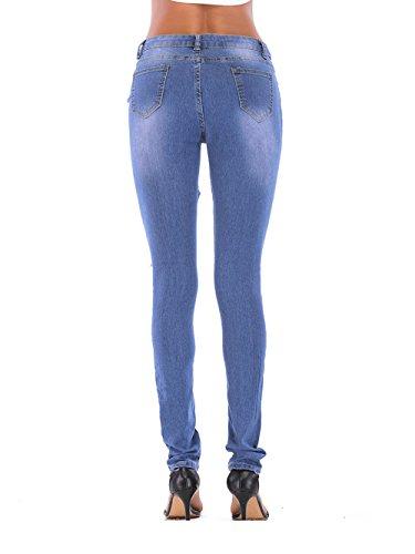 Deshilachados De MYX Pitillo Pantalones Vaqueros Blue Mezclilla Pantalones qqRngt