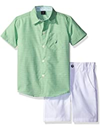 Nautica Boys' Short Sleeve Mini Stripe Button Down Shirt...