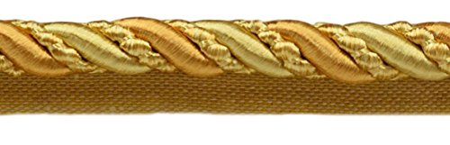 DÉCOPRO 27 Yard Value Pack of Large 7/16 inch 27 Yard Value Pack of Large and Light Gold, Noblesse Collection Lip Cord Style# 0716H Color: Golden Rays - 4875 (25 Meters / 81 Ft.) by DÉCOPRO