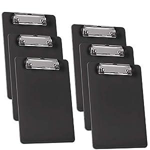 Acrimet Clipboard Memo Size A5 (23,5 cm x 16 cm) Low Profile Clip (Plastic) (Black Color) (6 Pack)
