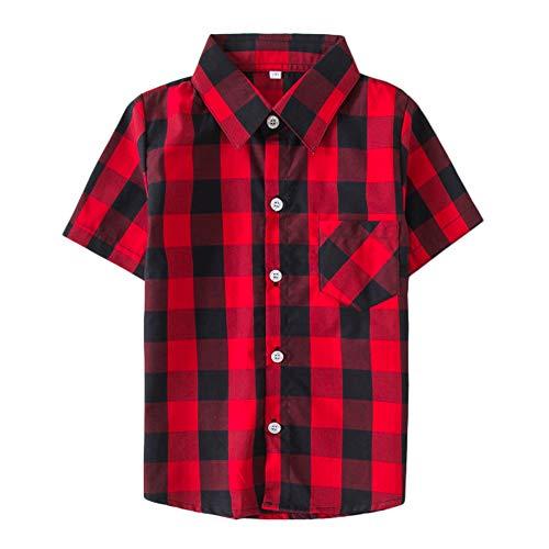 Mini honey Kids Little Boys Girls Baby Long Sleeve Button Down Red Plaid Flannel Shirt Plaid Girl Boy NB-6T (5-6 T, Red Black)
