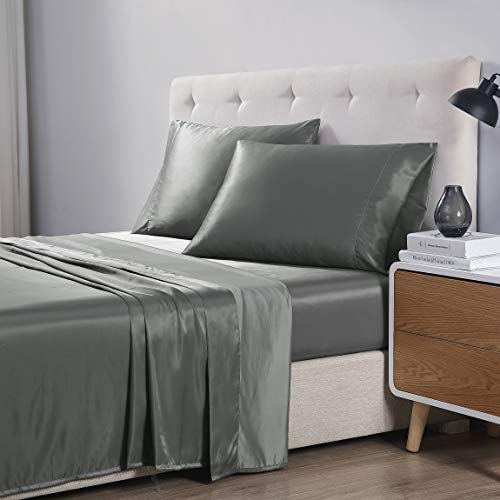 EXQ Home King Size Bed Sheets Set 4 Pcs,Microfiber Satin Grey Sheets & Pillowcase Set with Deep Pocket,Luxury Hotel Collection Bedding