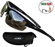 FLEX V1– Polarized Sports Sunglasses for Men Women, Tough Frame w/HD Lens for Driving Cycling Running Baseball