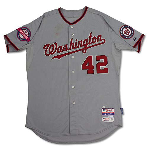 (Nationals Bryce Harper Game Used Jackie Robinson Day Grey Majestic Jersey MLB - MLB Game Used Jerseys)