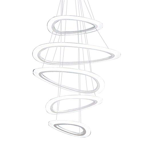 Mengzhu-Michelle LED Pendant Lamp Modern Acrylic Chandelier Creative Height Adjustable; nf Rings Pendant Lamp Dimmable Hanging Lamp; r Bedroom Living Room Kitchen Office Ø34 / 52/43/34/25