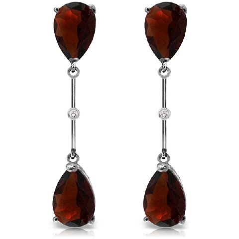 14K White Gold Natural Pear-shaped Garnet Stud Drop Dangle - Shaped Pear Earrings Garnet