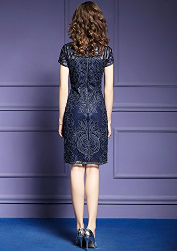 Delle `s Abito Donne Elegante Cotyledon Blu Con Formali Corpo Ricamo Abiti fP4qq6wa1