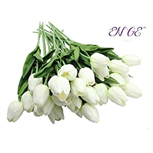 20- Heads Home Deocr Mini Tulip Real Touch Tulip Artificial Flowers Bouquets (White) 3