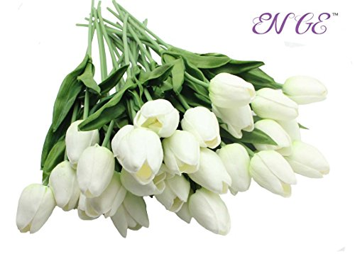 20-Heads-Home-Deocr-Mini-Tulip-Real-Touch-Tulip-Artificial-Flowers-Bouquets-White