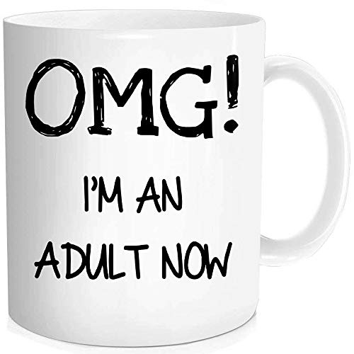 Waldeal Funny 18th 19th 20th 21st Birthday Gifts Born In 1998 1999 2000 2001 Year Gifts - OMG, I'm An Adult Now - Coffee Mug, 11-oz Fine Bone Ceramic White