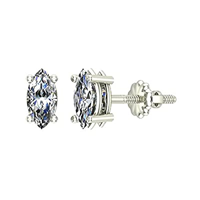 14K Gold Diamond Stud Earrings Marquise Cut Earth-mined (J,I1)