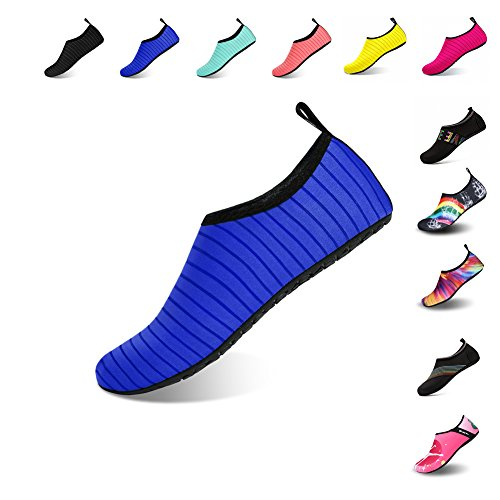 Ningmeng Mens Womens Water Shoes Barefoot Beach Pool Shoes Quick-Dry Aqua Yoga Socks For Surf Swim Water Sport (Blue, 38/39EU)