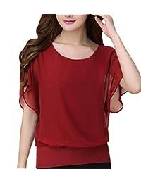 Csbks Womens Short Sleeve Chiffon Shirt Tops Flutter Loose Casual Blouse