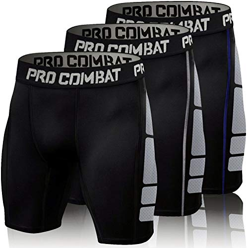 ZMCX Men's Compression Shorts 3 Pack Quick Dry Sports Tight Shorts Soft Running Pants for Workouts, Training, Gym, Sports