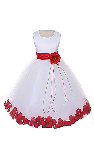 Satin Bodice Communion Flower Girl Pageant Petal Dress: White/Red - 4