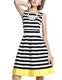 The Bazaar R Women's Summer Sleeveless Knee Length Striped A Line Dress