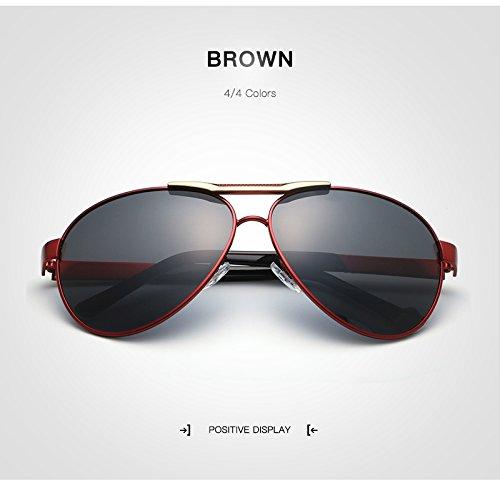 Gafas de de Color Sol de HD clásicas Hombres MY Titanio Brown Gafas polarizadas conducción de para Aluminio Puente Brown Sol TR90 UV400 Gafas 8dq5nw54