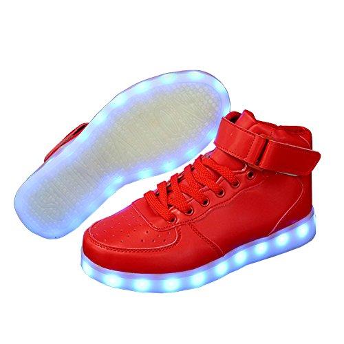E Support Unisex-Erwachsene Herren Damen 7 Farbe USB Aufladen LED Leuchtend Sport Schuhe Sportschuhe Sneaker Turnschuhe für Abschlussball-Partei Valentinstag Weihnachtsgeschenkkostenlos Rot
