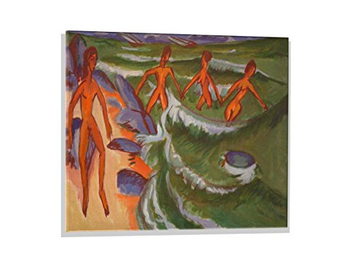 kunst für alle Glass Picture: Ernst-Ludwig Kirchner Bathers on The Beach Fehmarn, Wall Picture, Brilliant Art Print on Real Glass, 31.5x23.6 inch / 80x60 cm