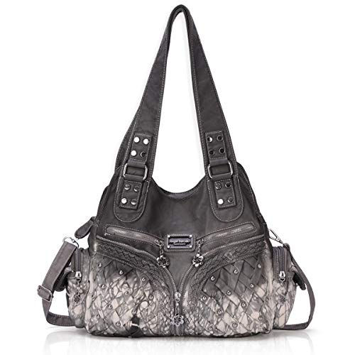 (Angel Barcelo Roomy Fashion Hobo Womens Handbags Ladies Purse Satchel Shoulder Bags Tote Washed Leather Bag Grey)