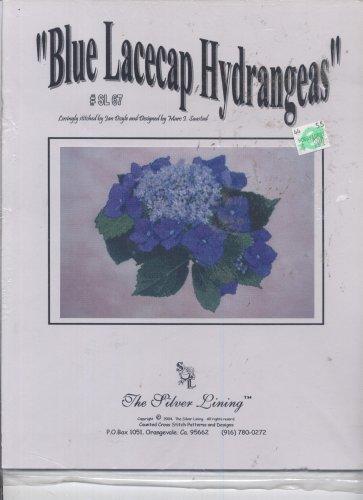 Silver Lining Cross Stitch Patterns - Blue Lacecap Hydrangeas Counted Cross Stitch Patterns and Designs