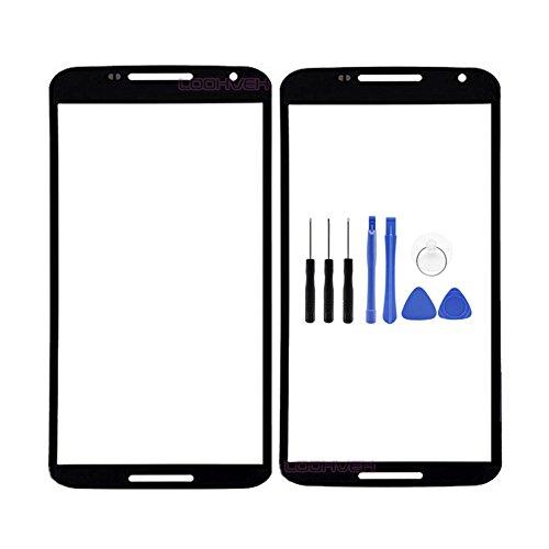 for Motorola Google Nexus 6 Panel Lens Cover - Black Front Panel Outer Screen Glass Lens Replacement for Motorola Google Nexus 6 XT1103 XT1100 with Opening Tool (Not LCD &Not Digitizer)