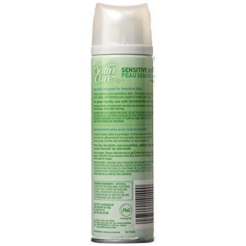 Gillette Satin Care Shave Gel Sensitive Skin 7 oz (Pack of 5)