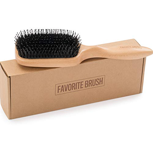 (The Favorite Brush, wooden paddle hairbrush with boar bristles and nylon pins. The perfect wet and shine brush, for detangling and adding shine. (Natural Wood hair brush))