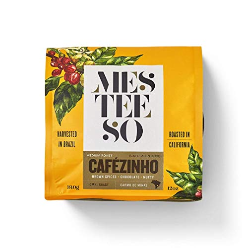 Mesteeso Cafézinho Omni Roast French Press Coffee. Gourmet Medium Roast Coffee Harvested in Brazil and Roasted in California, with a Nutty Chocolate Flavor and Brown Spices (12 oz / 340 g)