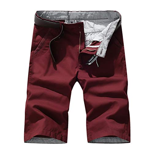 Short Pants Forthery Mens Summer Fashion Pure Color Straight Work Outdoors Regular Shorts Pocket Pant(Red,XXXL=33)