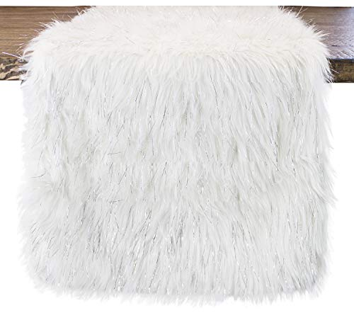 Fennco Styles Holiday Christmas Decorative Exquisite Faux Fur with Silver Lurex Thread Table Runner - 2 Colors (White, 16