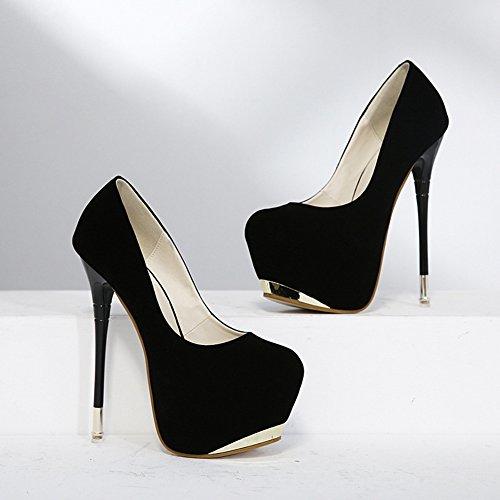 Shoes Toe Easemax Womens Stiletto Elegant High Platform Round Frosted Black Pumps Heel q7q4Ov