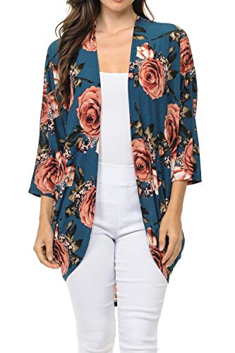 Auliné Collection Womens USA Made Casual Cover Up Cape Gown Robe Cardigan Kimono SFBW1 Rose Bloom FL Teal M ()
