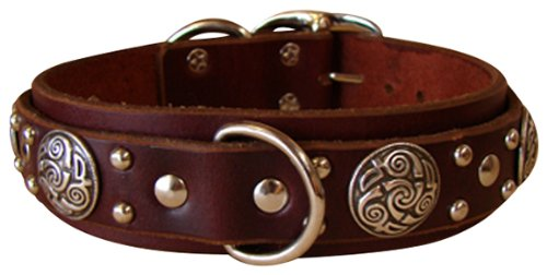 "Paco Collars - ""Gunther Deluxe"" - Handmade Leather Large Dog Collar - 1.5""Wide - Silver - Black 24""-26"""