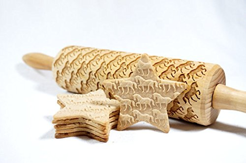 STODOLA Horses - Engraved rolling pin for Embossed cookies 16.9-inch