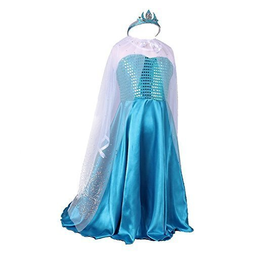 Girls Princess Costume Gown Dress Sparkly Cape with Pageant Tiara (4T, blue) (Disney Princess Pageant Dress)