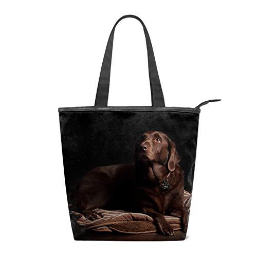 (Women's Handbags Canvas Shoulder Bags Animal Labrador Retriever Dogs Brown Handbag Retro Casual Tote Purses)