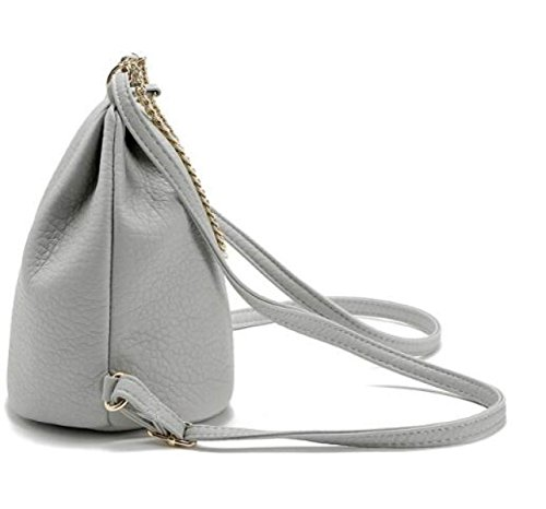 Moda Simple Bolsos Moda Cadena Hombros Pequeño Mochila Paquete Diagonal Salvaje Bolsa Casual LightGray