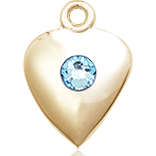 14kt Yellow Gold Heart Medal with 3mm March Blue Swarovski Crystal 1 1/4 x 1 5/8 inches by Bonyak Jewelry Saint Medal Collection