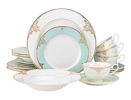 "EURO Porcelain 20-pc. Dinner Set Service for 4, 24K Gold-plated Luxury Bone China Tableware (""Aegean Sea"" 6414-20)"